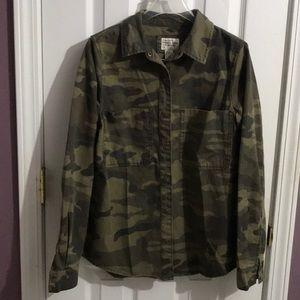 Forever 21 Camouflage Military Denim Shirt S